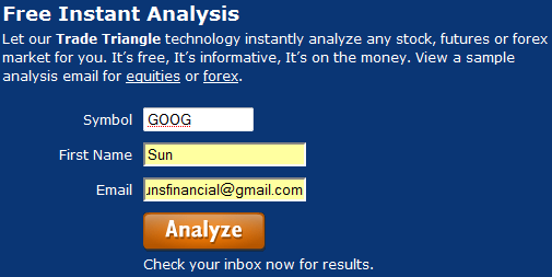 Free instant stock analysis interface