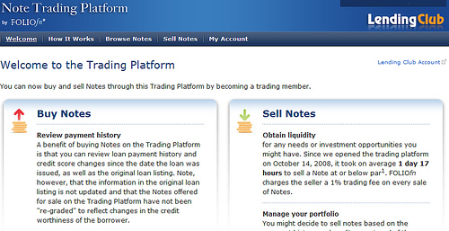 Lending Club note trading platform
