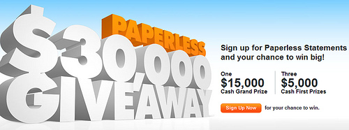 Discover Card $30,000 Paperless Statements Sweepstakes