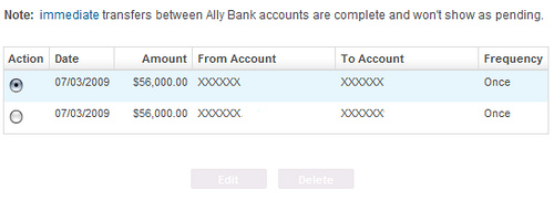 Ally Bank ACH Pending Transfers