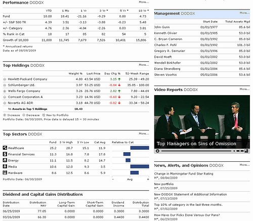 Morningstar mutual fund quote page data