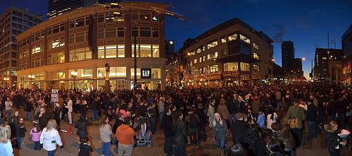 Panoramic shot, Westlake Center, Black Friday 2009