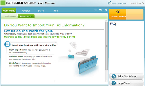 H&R block At Home Free Federal Filing review