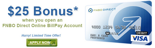 FNBO Billpay account bonus