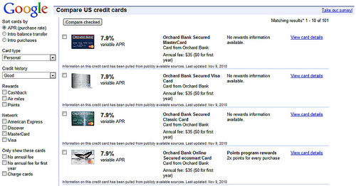 Google credit card compare