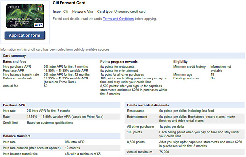 Citi Forward card